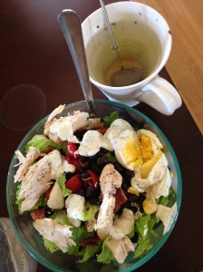 Salad: Romaine, cucumber, tomatoes, eggs, chicken, black beans, goat cheese, ranch dressing...and lactation tea.
